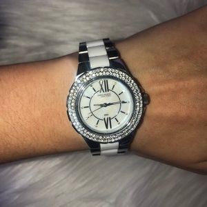 Anne Klein silver watch with switchable pieces